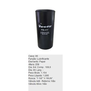 Filtro-De-Oleo-Tecfil-Psl417-Caterpillar-120B-120G-120H-DPS-45718-01